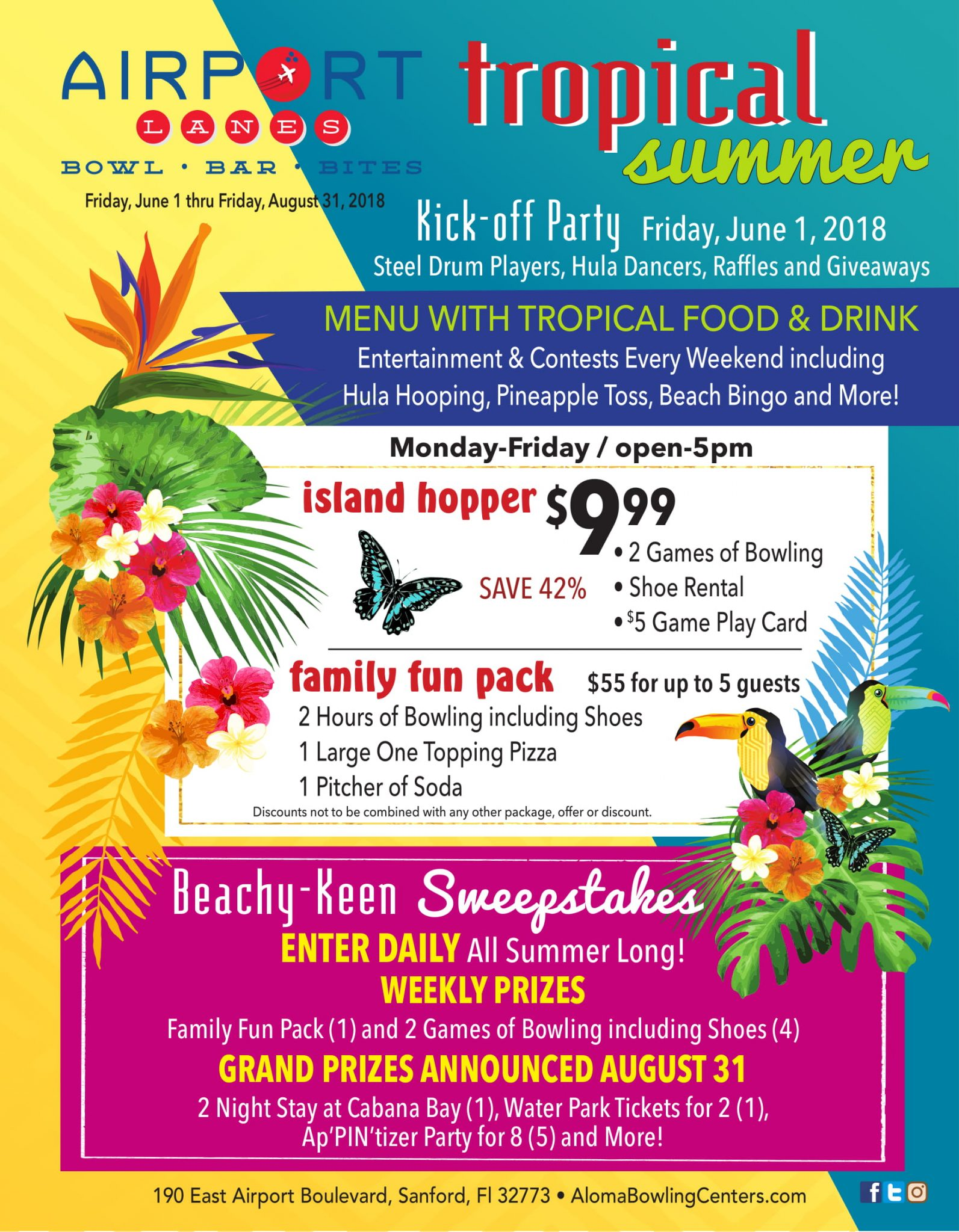aloma bowling centers offer discounts sweepstakes during tropical