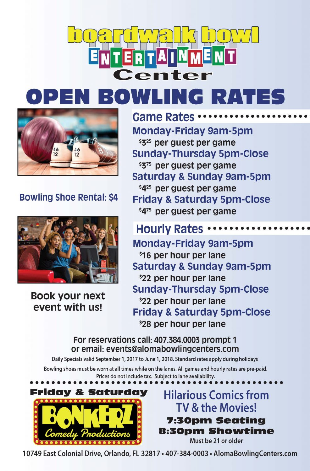 Fall Open Bowling Rates