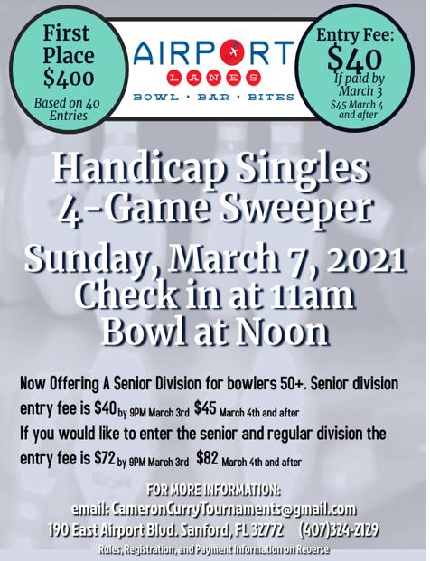 Handicap Singles 4-Game Sweeper