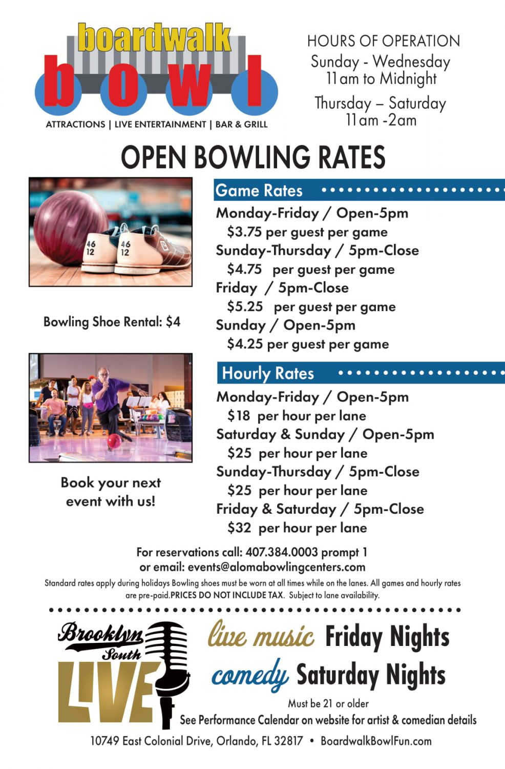 Open Bowling Rates